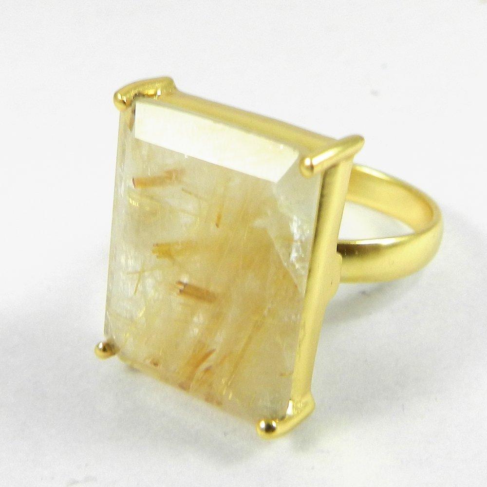Golden Rutile Quartz Gold Plated Prong Set Anahi Ring