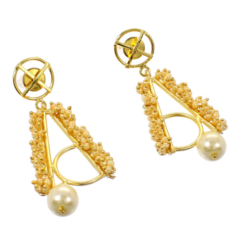 Gorgeous Pearl Gemstone 18k Gold Plated Designer Handmade Stud Dangle Earring