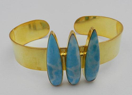 Grace Synthetic Larimar Gold Plated Adjustable Designer Bezel Bangle