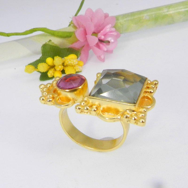 Green Amethyst & Pink Hydro Gold Plated Designer Adjustable Ring