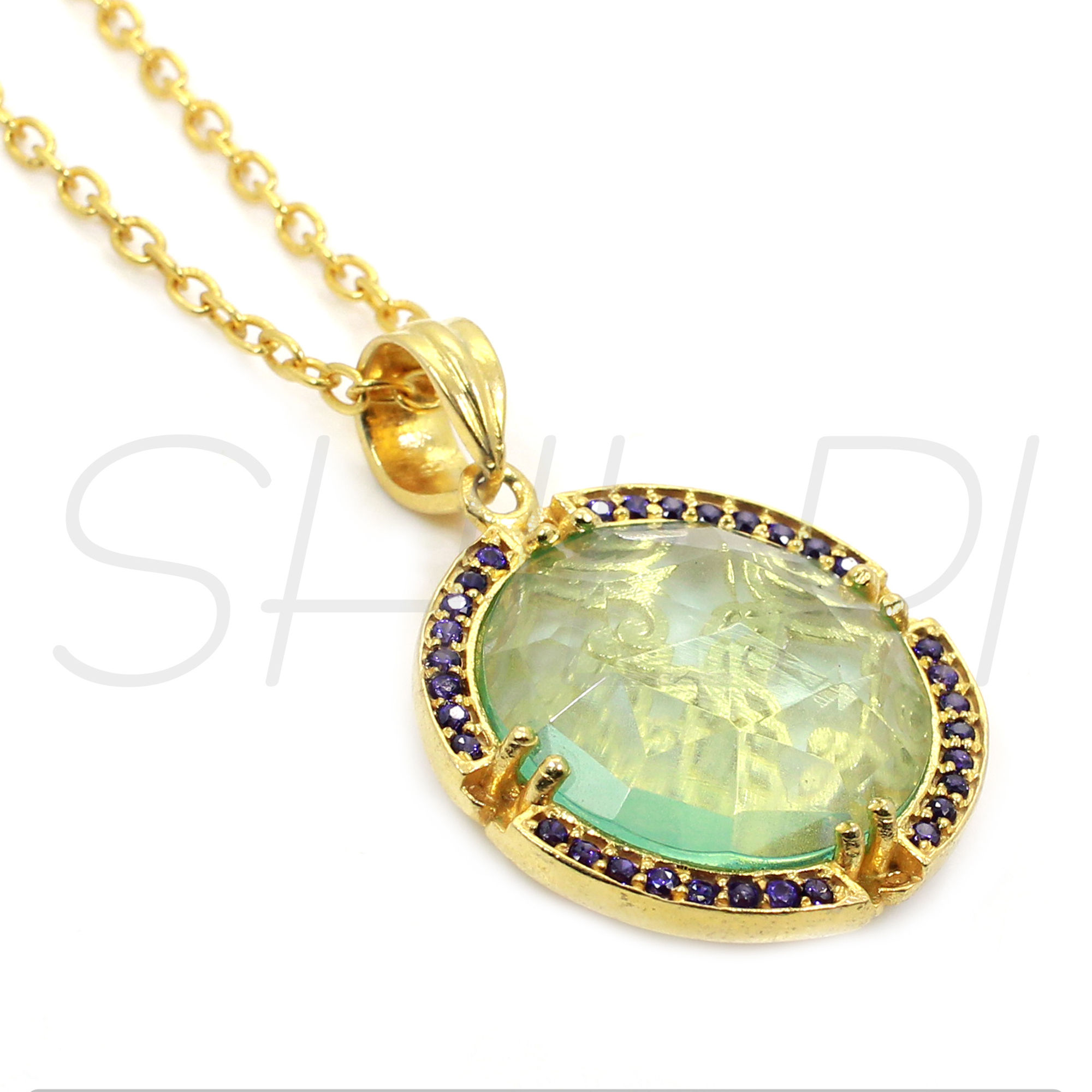 Green Amethyst Hydro &  Blue Cubic Zirconia Gold Plated Chain Pendant Necklace