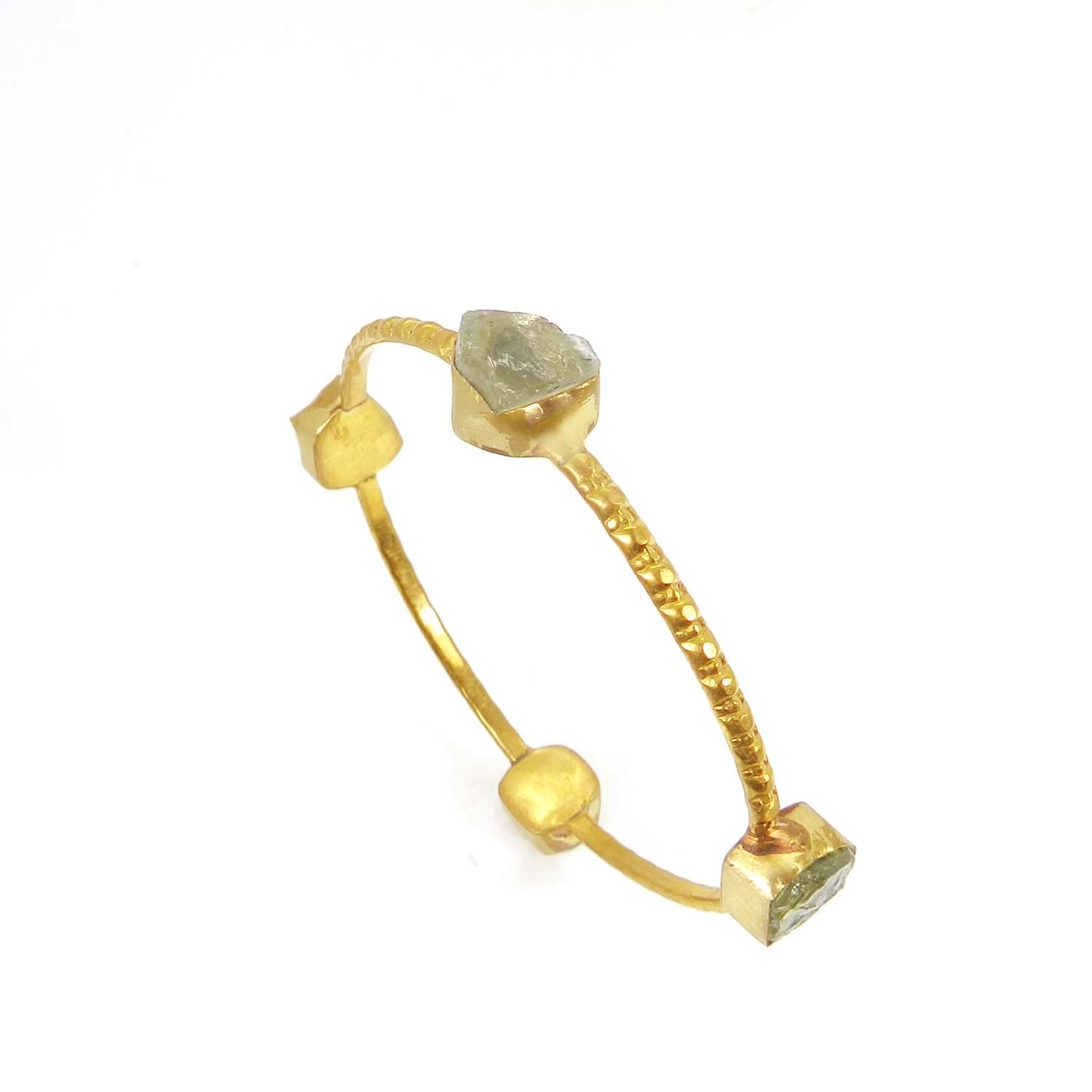 Green Amethyst Hydro Rough Gold Plated Hammered Bezel Bangle