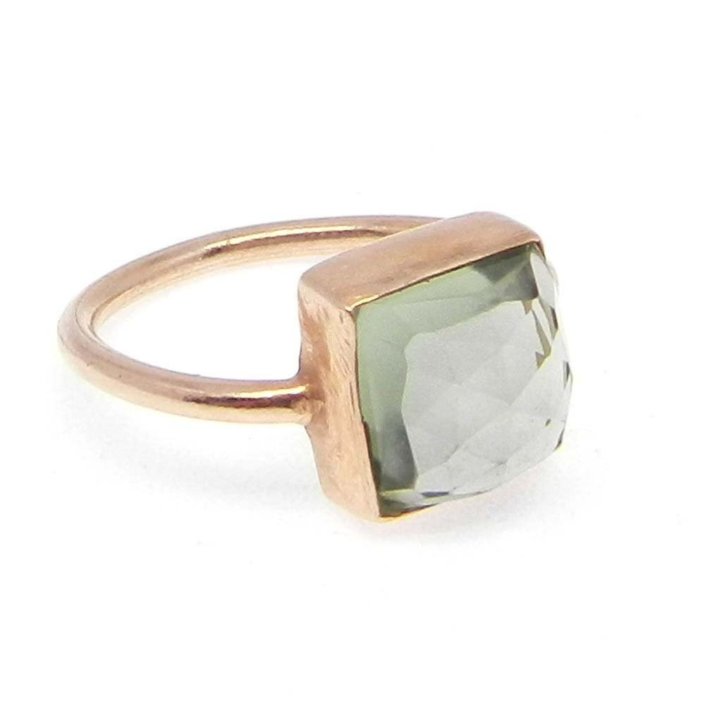 Green Amethyst Hydro Silver Rose Gold Plated Bezel Ring