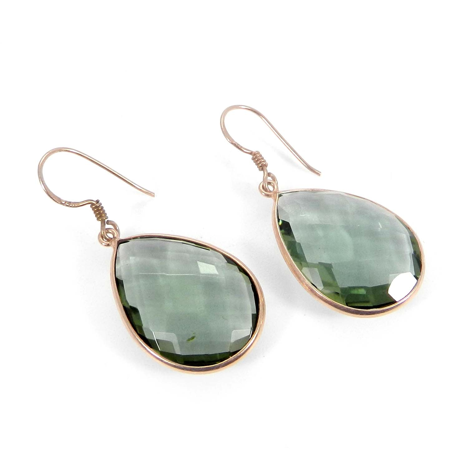 Green Amethyst Hydro Silver Rose Gold Plated Dangle Earring