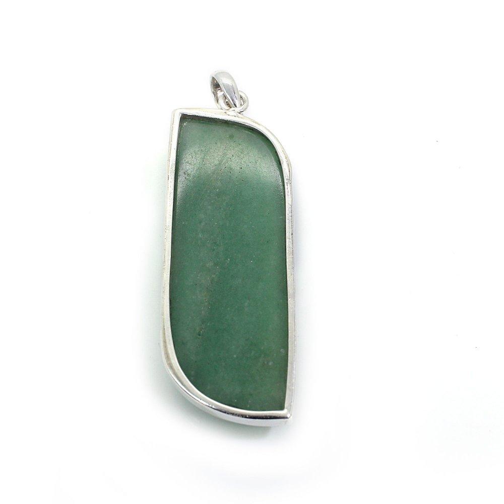 Green Aventurine 925 Silver Bezel Set Pendant
