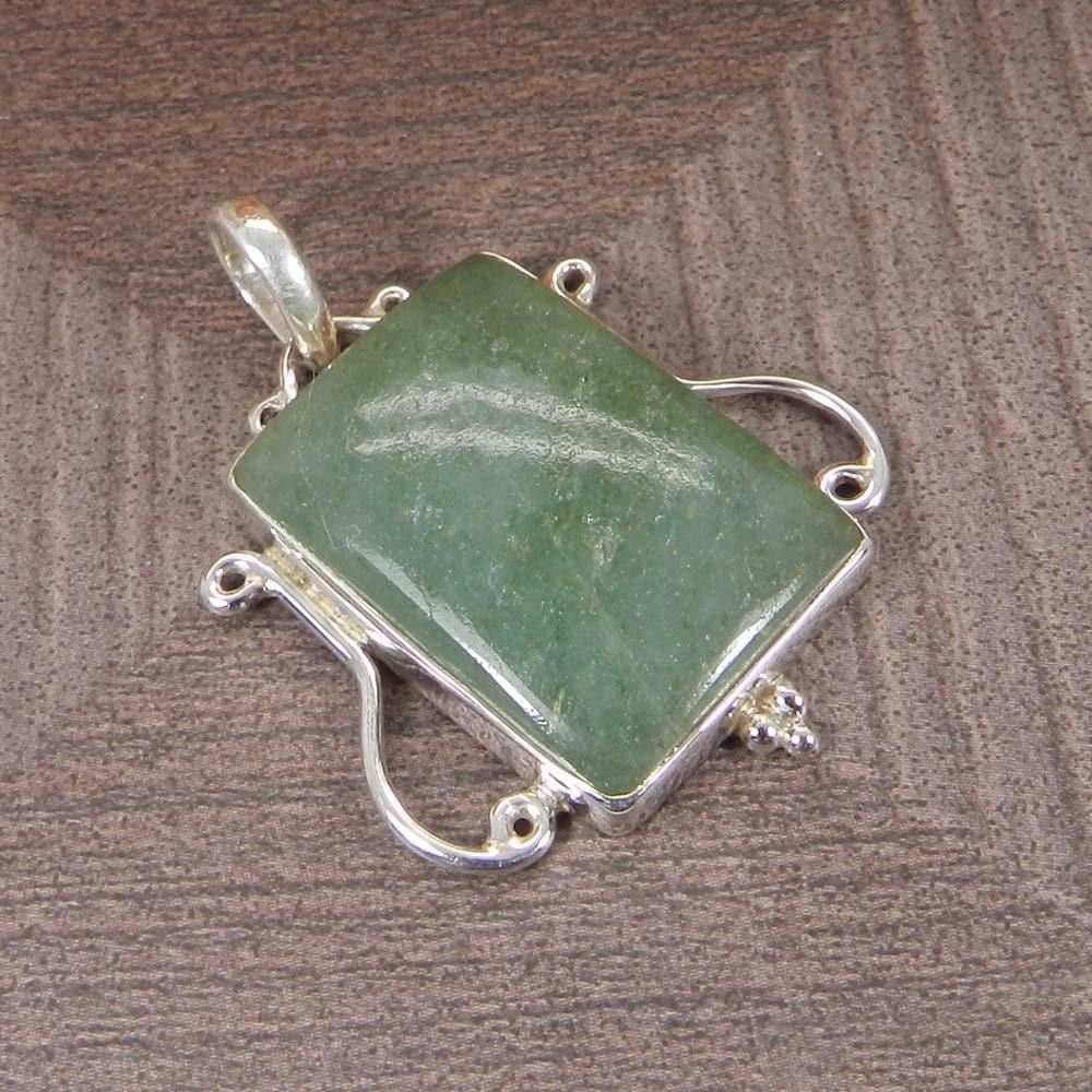 Green Aventurine 925 Sterling Silver Designer Bezel Set Pendant