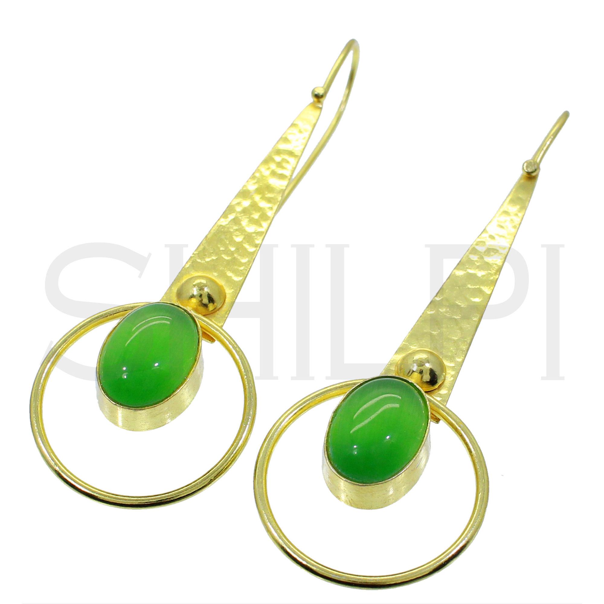 Green Cat's Eye Gold Plated Handmade Long Dangle Earrings