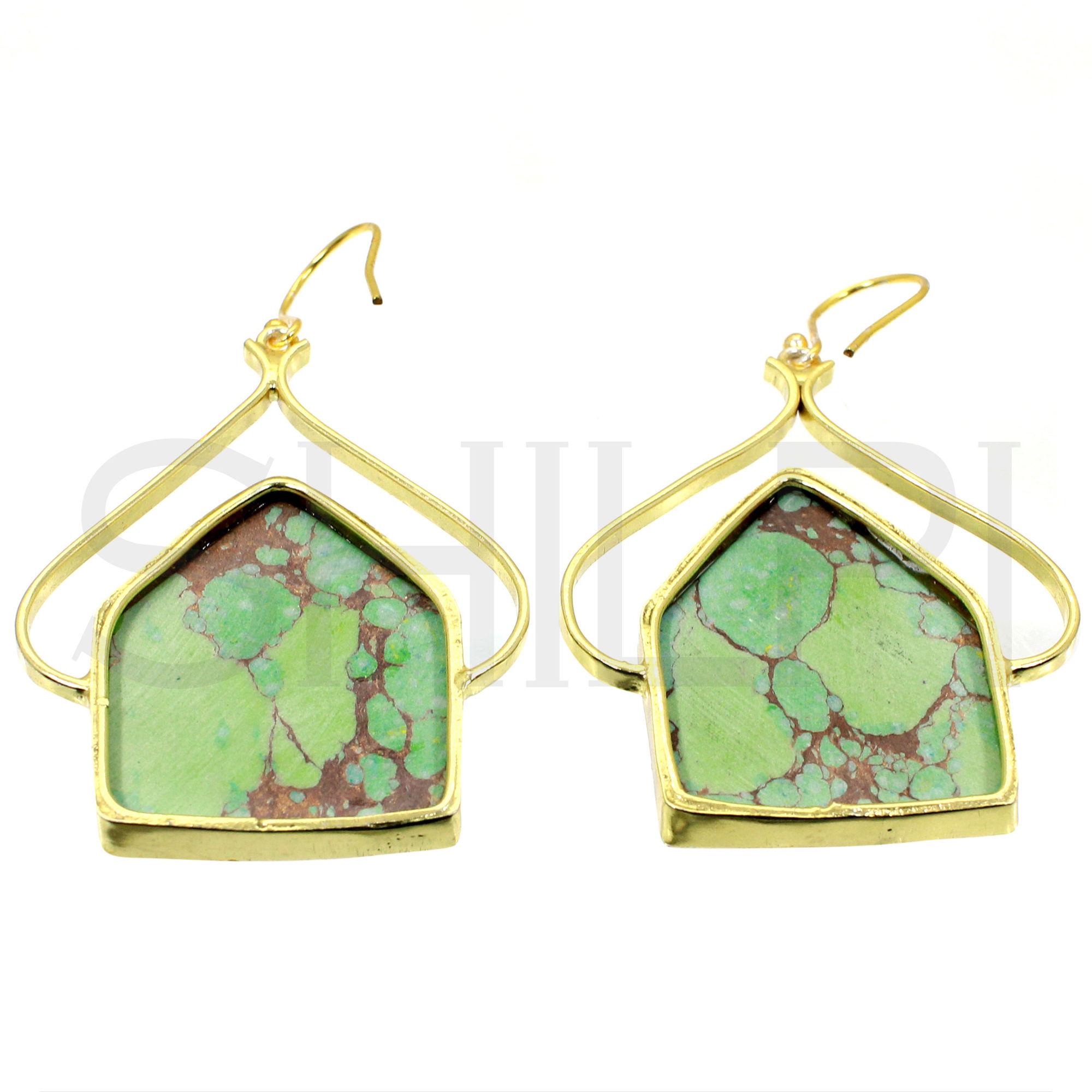 Green Copper Turquoise Designer Gold Plated Dangle Earrings