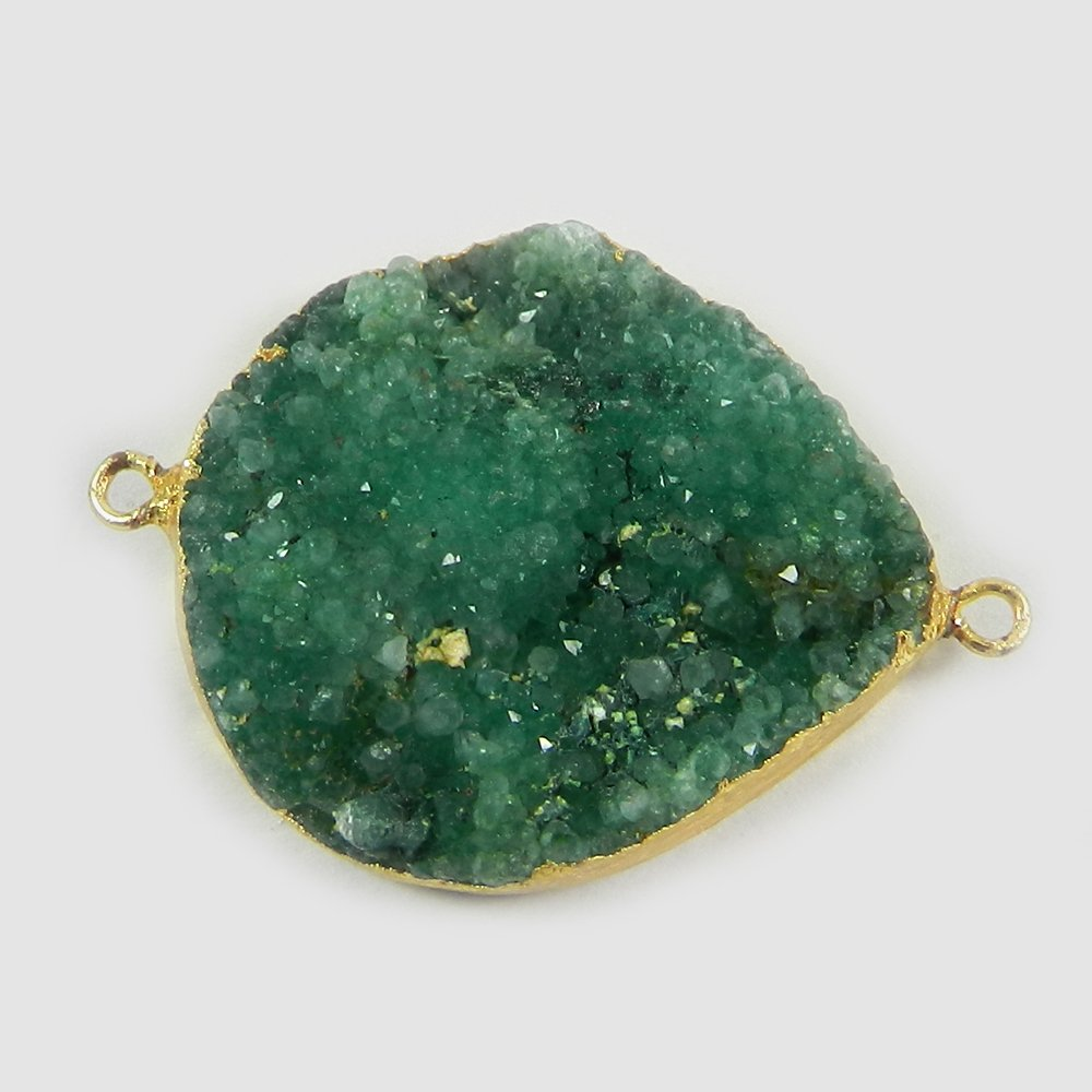 Green Druzy Heart Shape 40x29mm Gold Electoplated Double Loop Connector