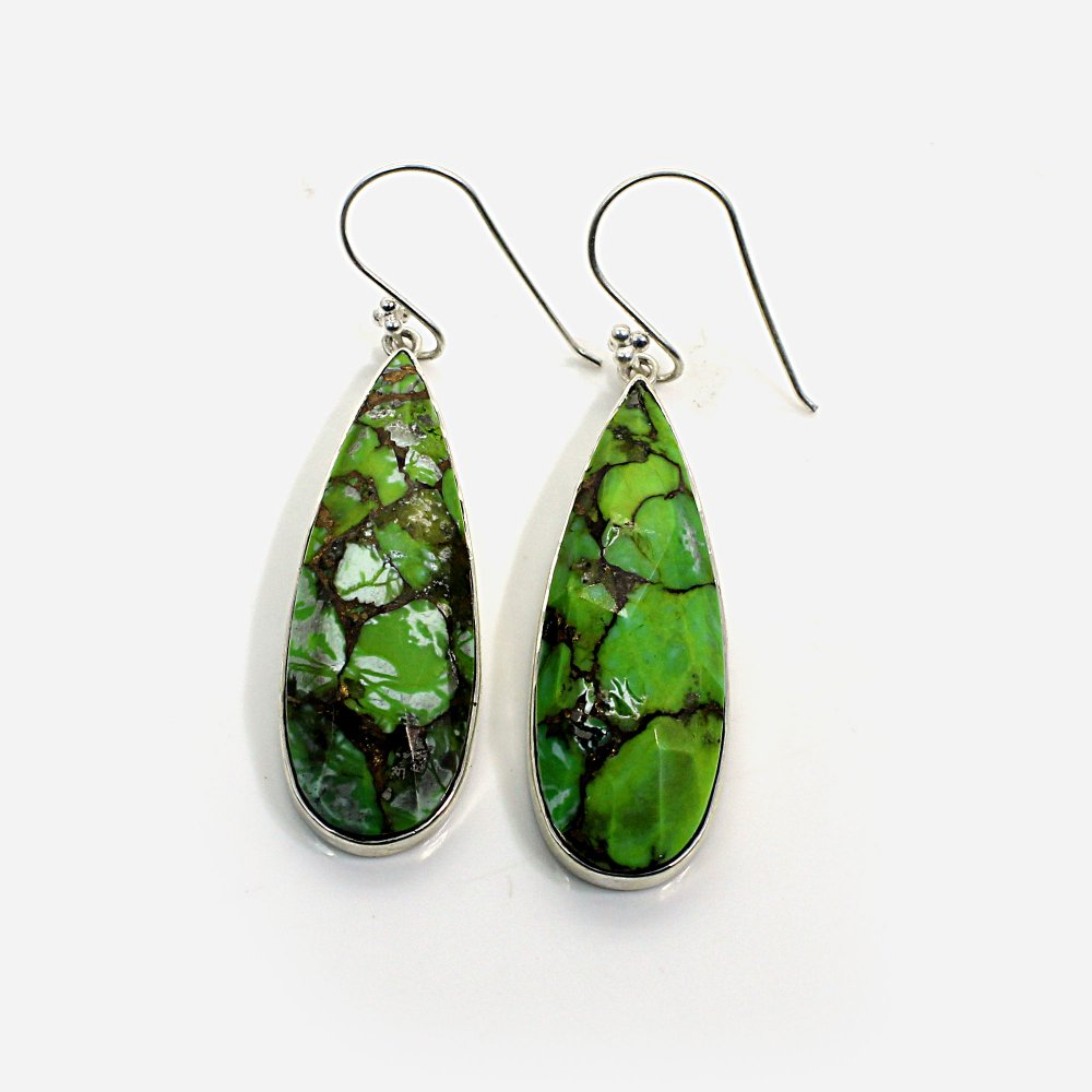Green Mohave Turquoise Silver Plated Dangle Earrings