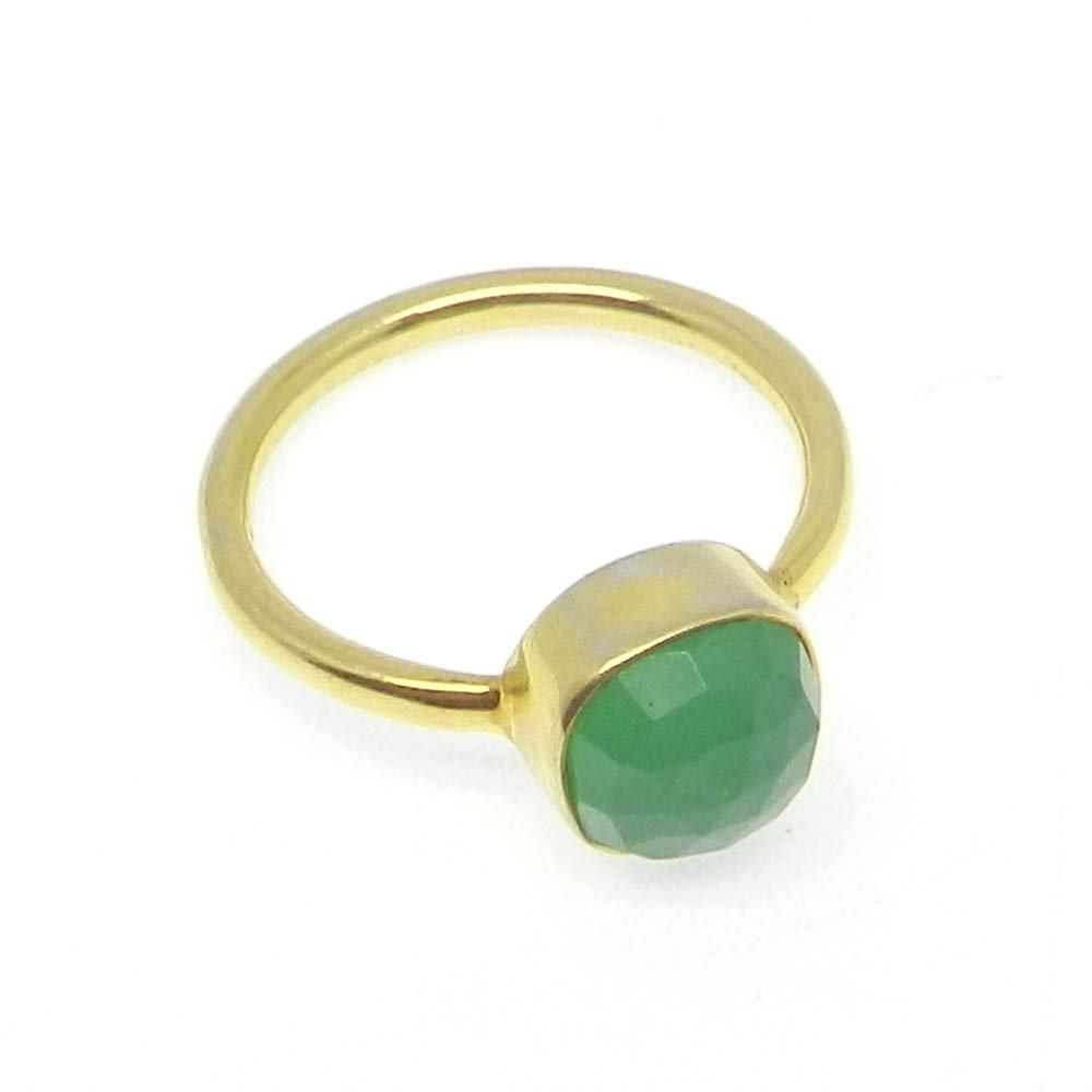 Green Onyx 925 sterling silver gold plated bezel ring