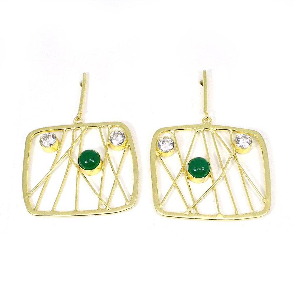 Green Onyx & Cubic Zirconia Gemstone Brass Vermeil  Designer Earring