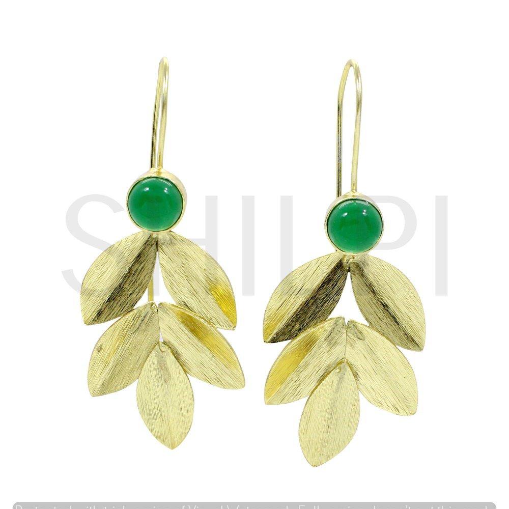 Green Onyx Gold Plated Designer Leaf Dangle Earrings