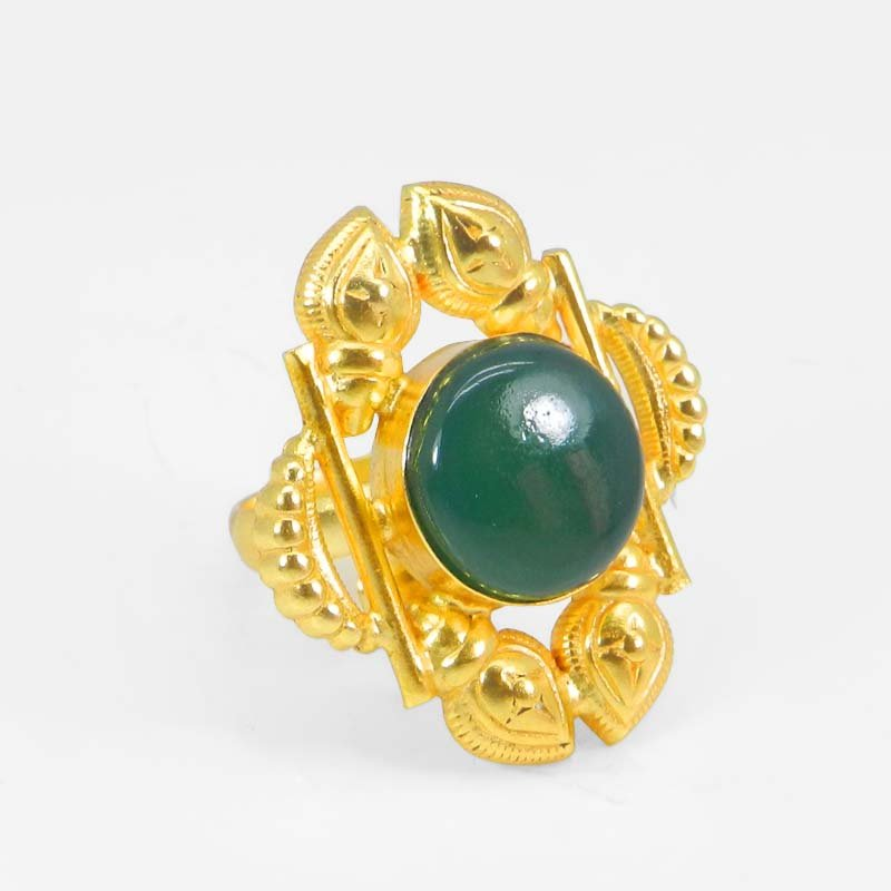 Green Onyx Round Gold Plated Bezel Set Adjustable Ring