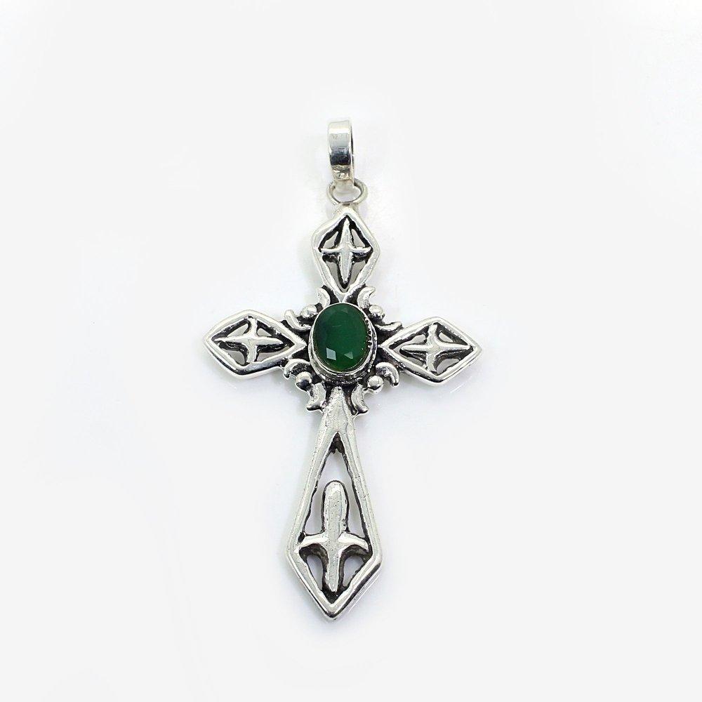 Green Onyx Sword 925 Silver Bezel Set Pendant