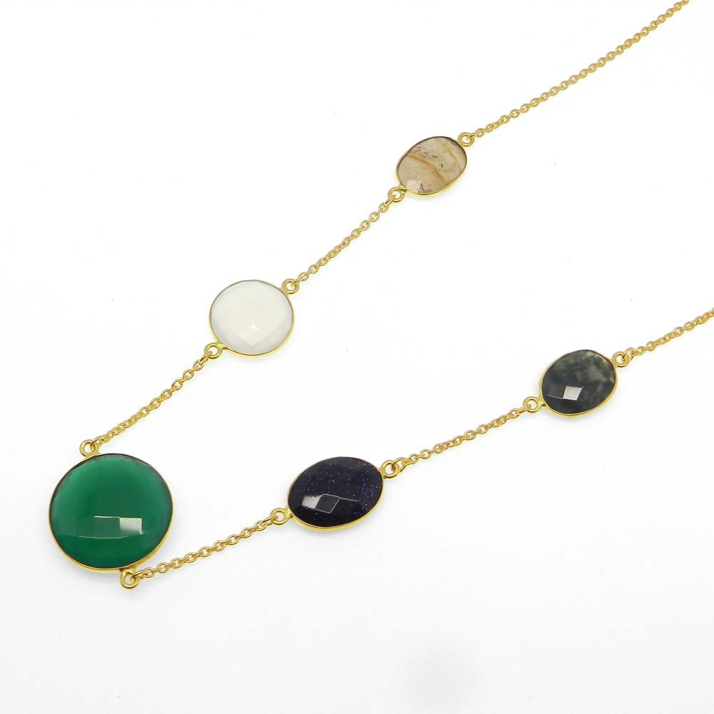 Green Onyx,Sunstone,Jasper,White Agate,Chalcedony Gold Plated Long Chain Necklace