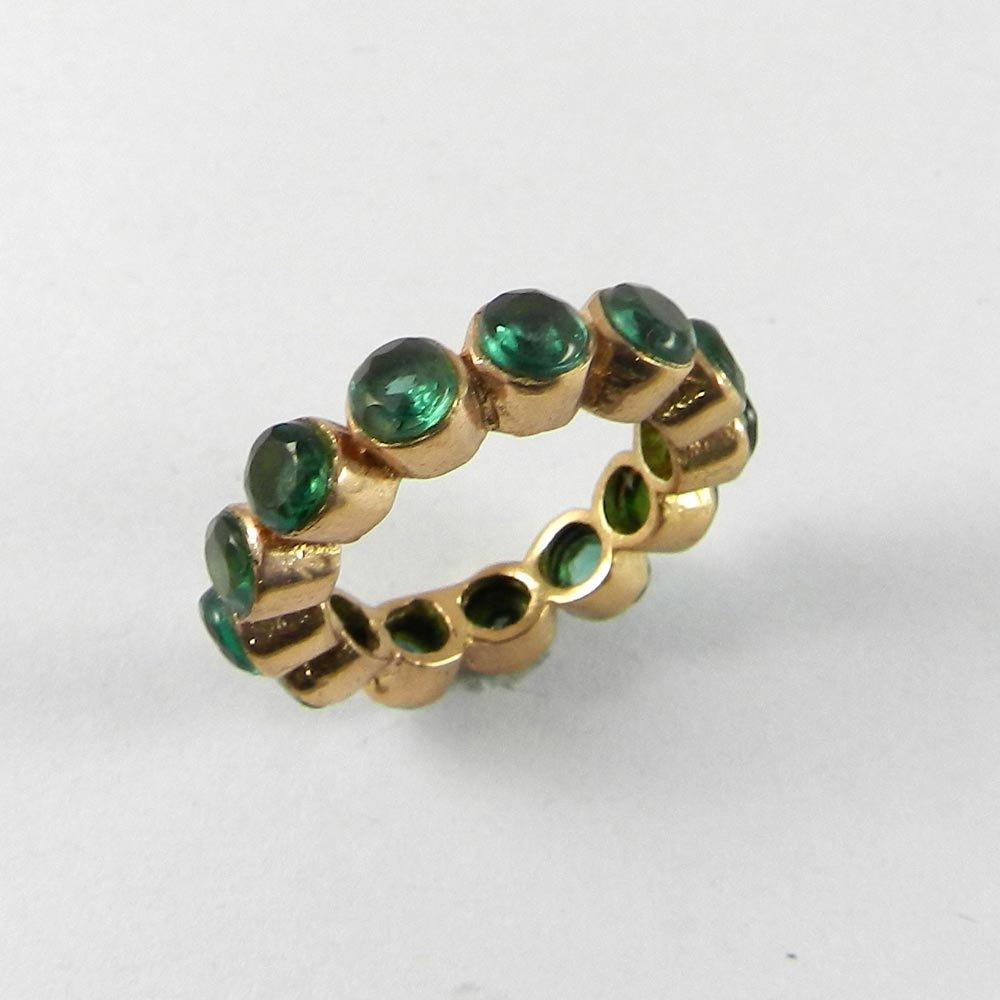 Green quartz rose gold plated eternity ring