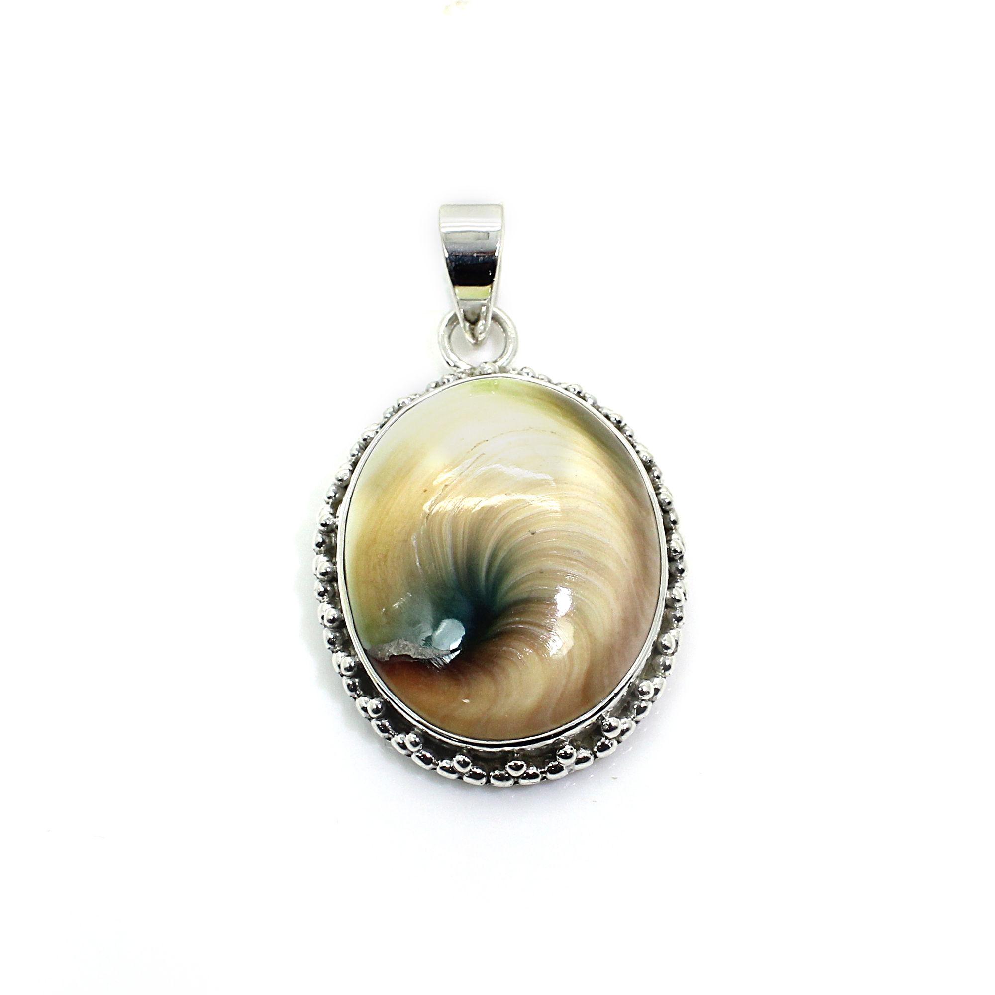 Green Shiva Eye Sterling Silver Pendant