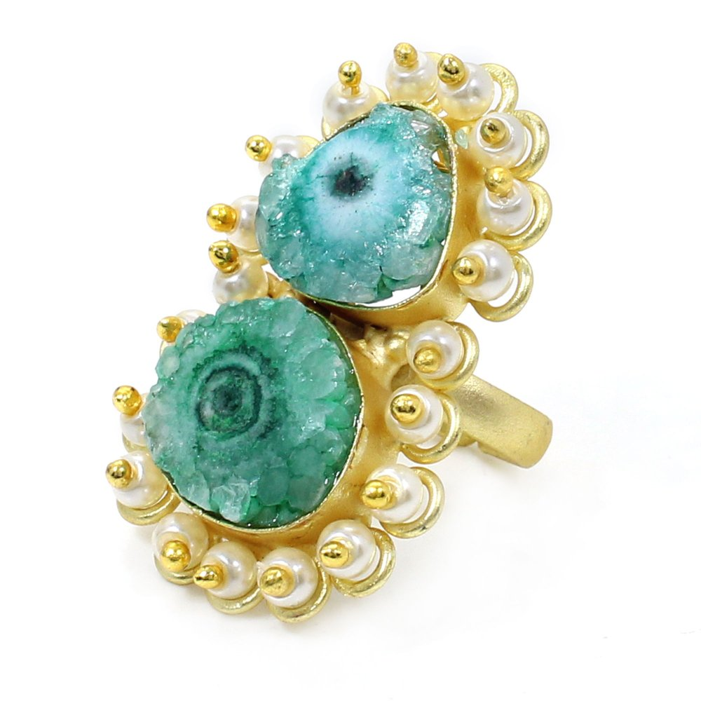 Green Solar Quartz Druzy & Pearl Beads Gold Plated Adjustable Ring