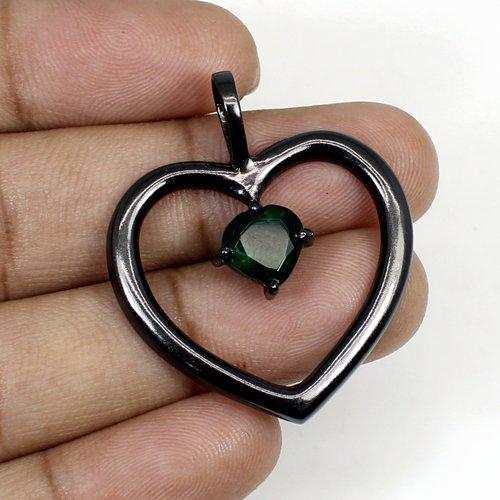 Green Tourmaline Hydro Brass Black Ruthenium Plated Women Pendant