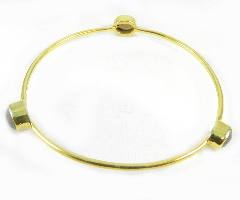 Grey Chalcedony Gemstone Gold Plated Designer Bezel Bangle