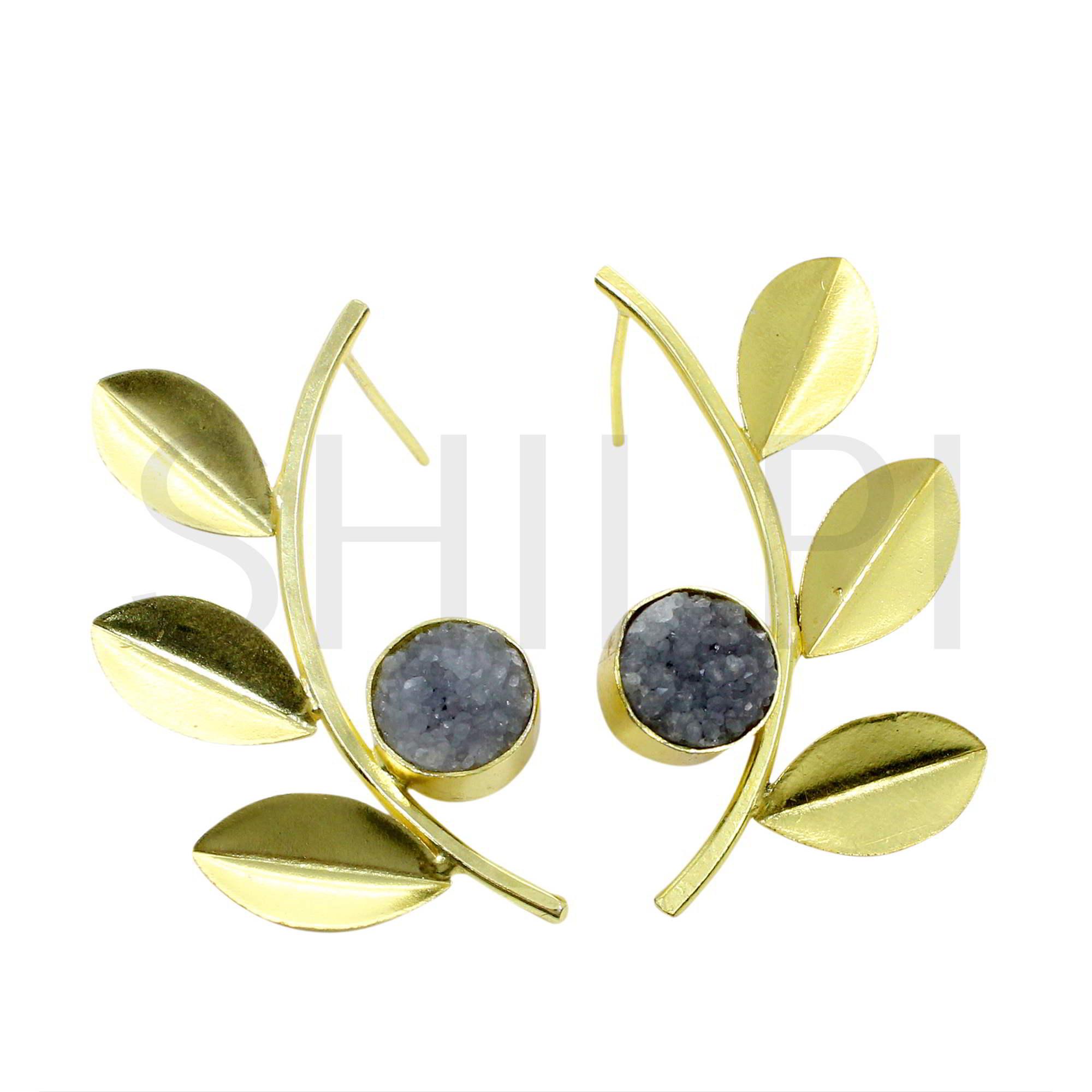 Grey Druzy Gold Plated Leaf  Design Stud Earrings