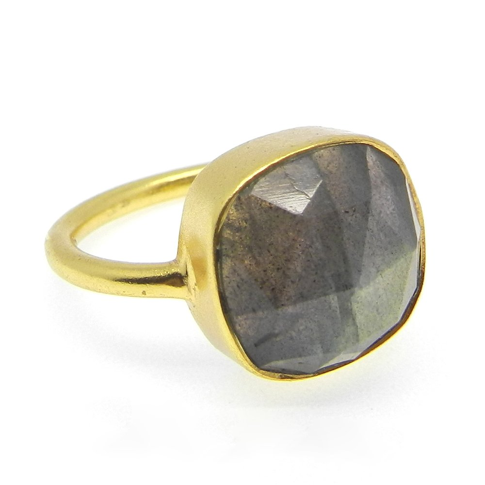 Grey Fire Labradorite Gemstone Ring Pure 925 Sterling Silver Ring Cushion Solitaire Ring Dainty Bezel Ring Vermeil Ring