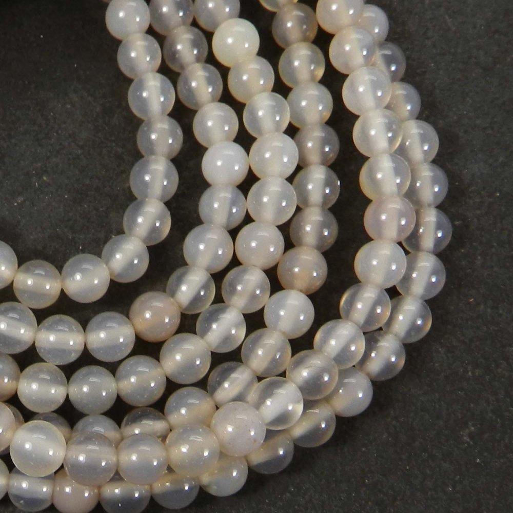 Grey Moonstone 4.5mm Round Smooth Gemstone Strand Beads