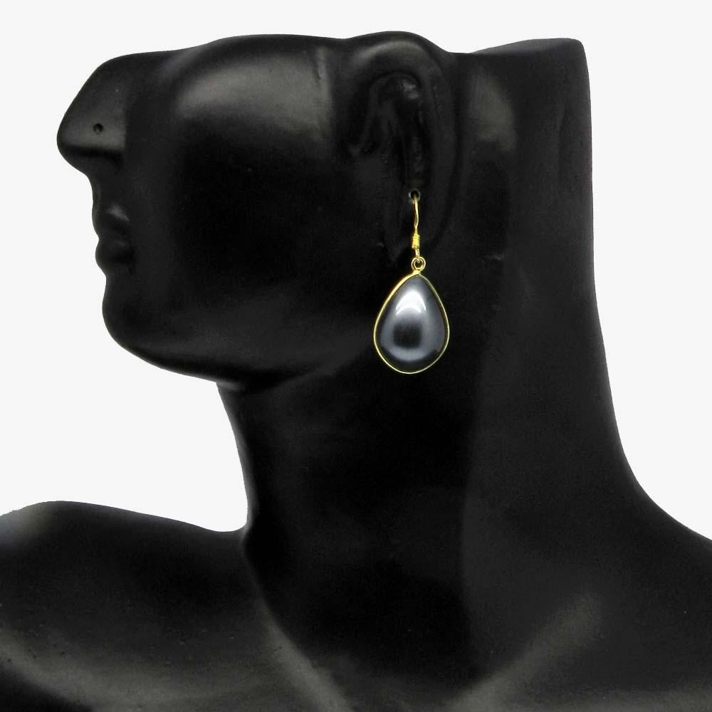 Grey Shell Pearl 925 Sterling Silver Bezel Dangle Earring