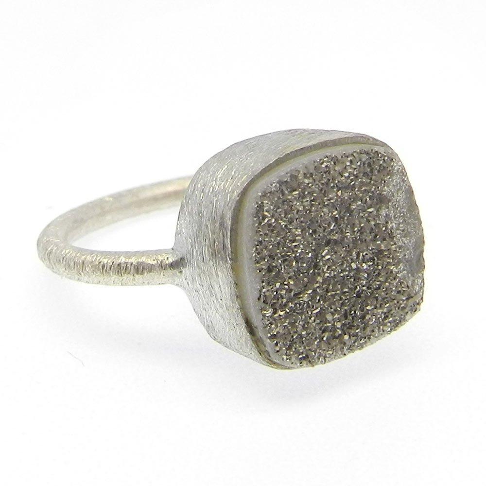 Grey Titanium Druzy Silver Matt Finish Designer Bezel Ring