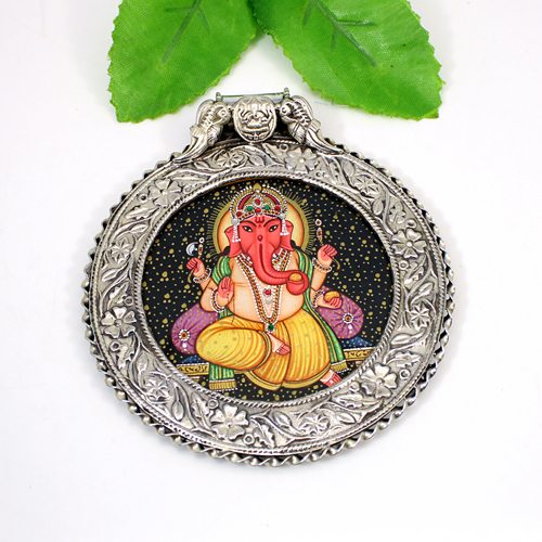 Hand Painting Lord Ganesha Pendant Solid 925 Sterling Silver Jewelry Classic Designer Oxidized Pendant Religious Pendant