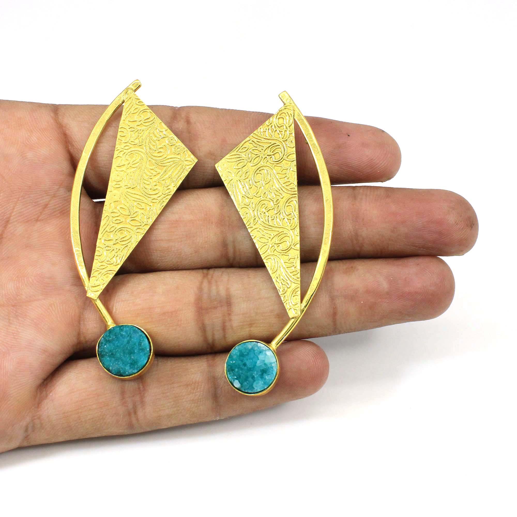 Handmade Artisan Green Druzy Gemstone Gold Plated Stud Dangle Earring