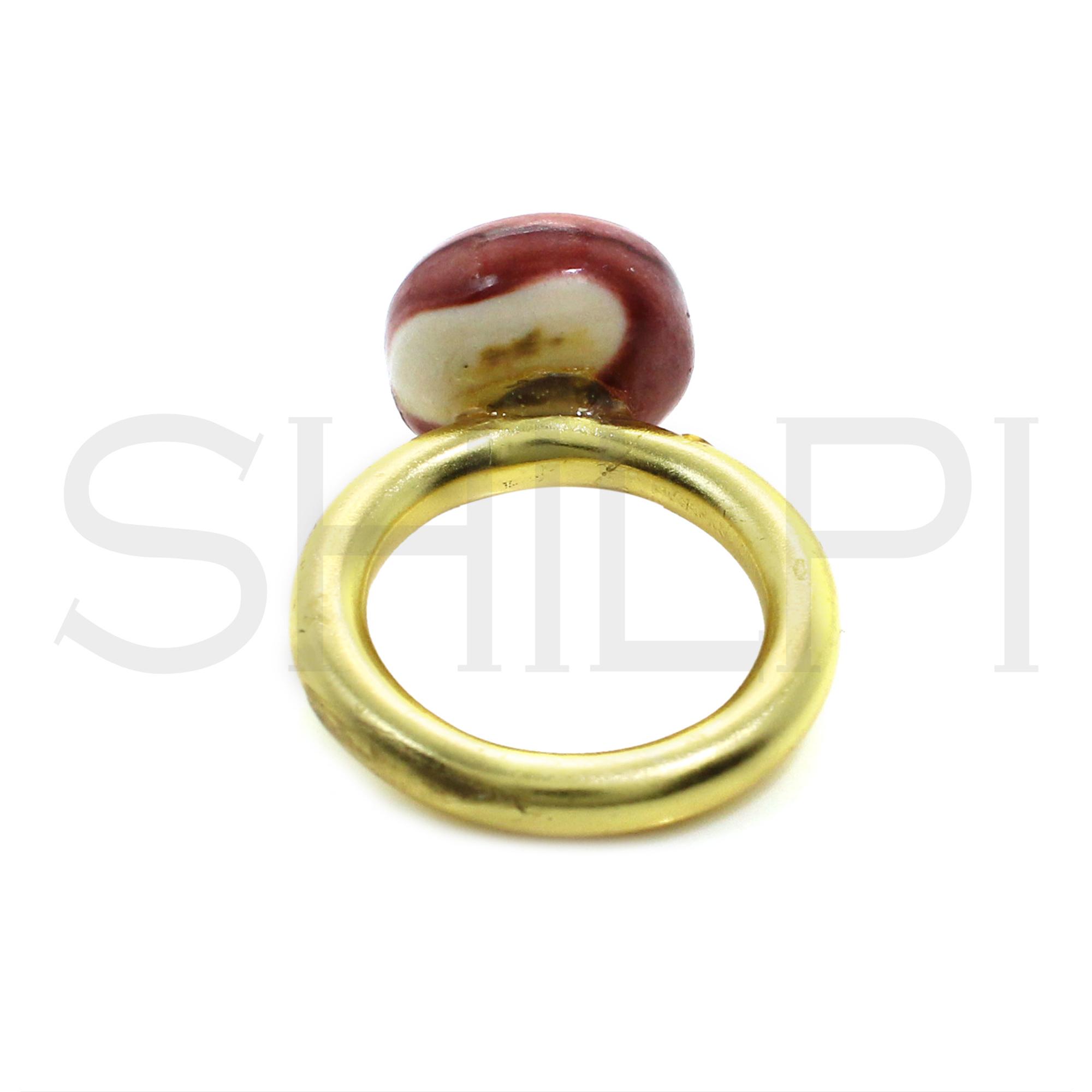 Handmade Gold Plated Ring With Mookaite Jasper