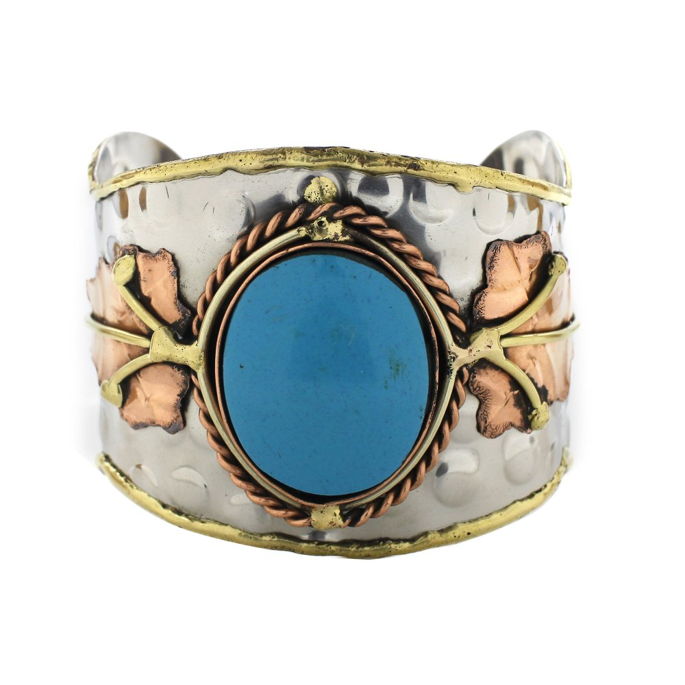 Handmade Hammered Synthetic Turquoise Leaf Cuff Bracelet