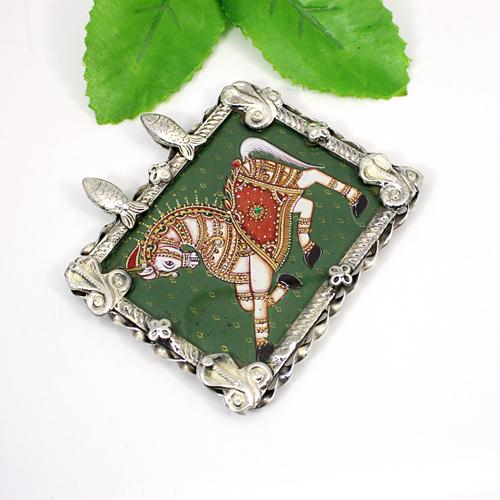 Handmade Horse Painting Pendant Solid 925 Sterling Silver Jewelry Art Framed Glass Pendant Oxidized Designer Boho Pendant