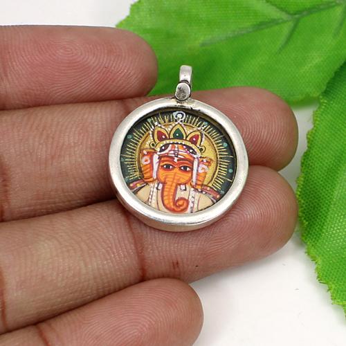 Handmade Jewelry Lord Ganesha Painting Pendant Glass Frame Spiritual Pendant Circular Unisex Jewelry Miniature Art Pendant