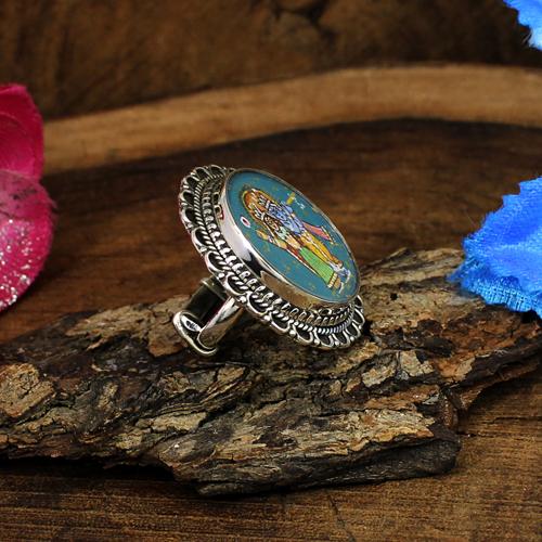 Handmade Painting Ring Lord Radha Krishna Ring Solid 925 Sterling Silver Ring Hindu Deity Ring Adjustable Ring Circular Statement Ring