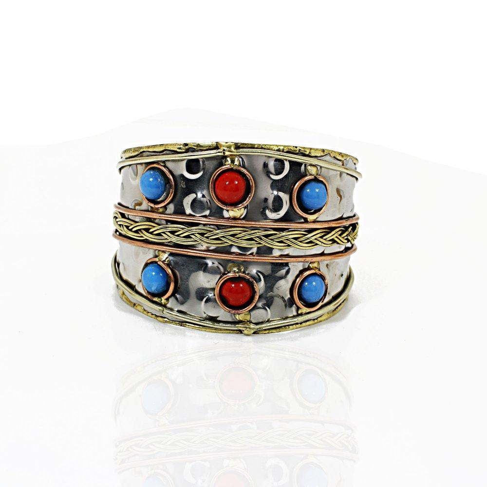 Handmade Three Tone Cuff Bracelet With Stone