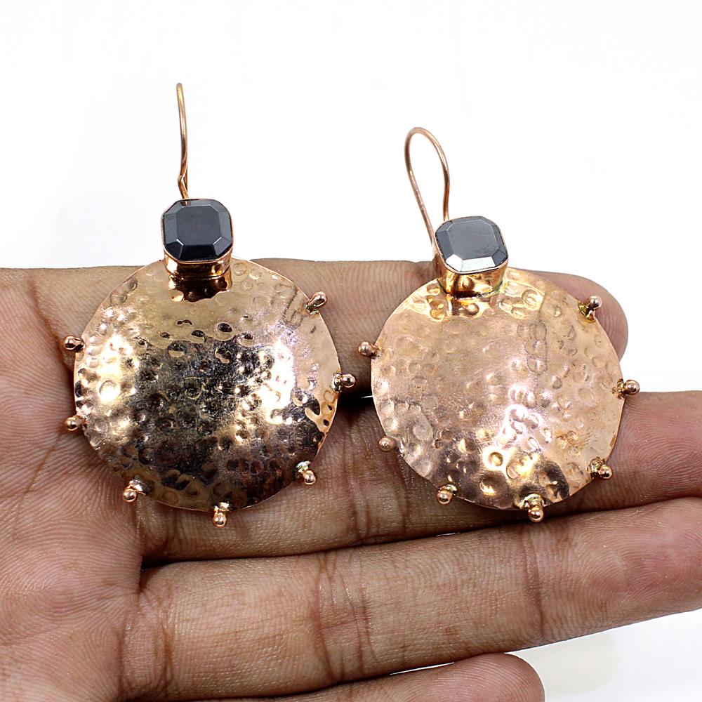 Hematite Rose Gold Plated Hammered Designer Dangle Earring