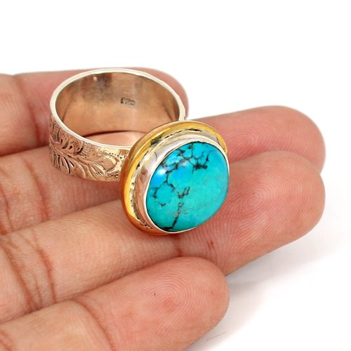 High Quality Jewelry Natural Tibetan Turquoise Gemstone Ring Solid 925 Sterling Silver Ring Engraved Band Mens Two Tone Ring