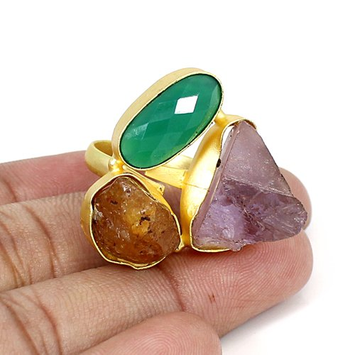 High Quality Large Multi Rough Gemstone Ring Brass Gold Plated Adjustable Rings Women Heavy Ring Thanksgiving Gift Ring