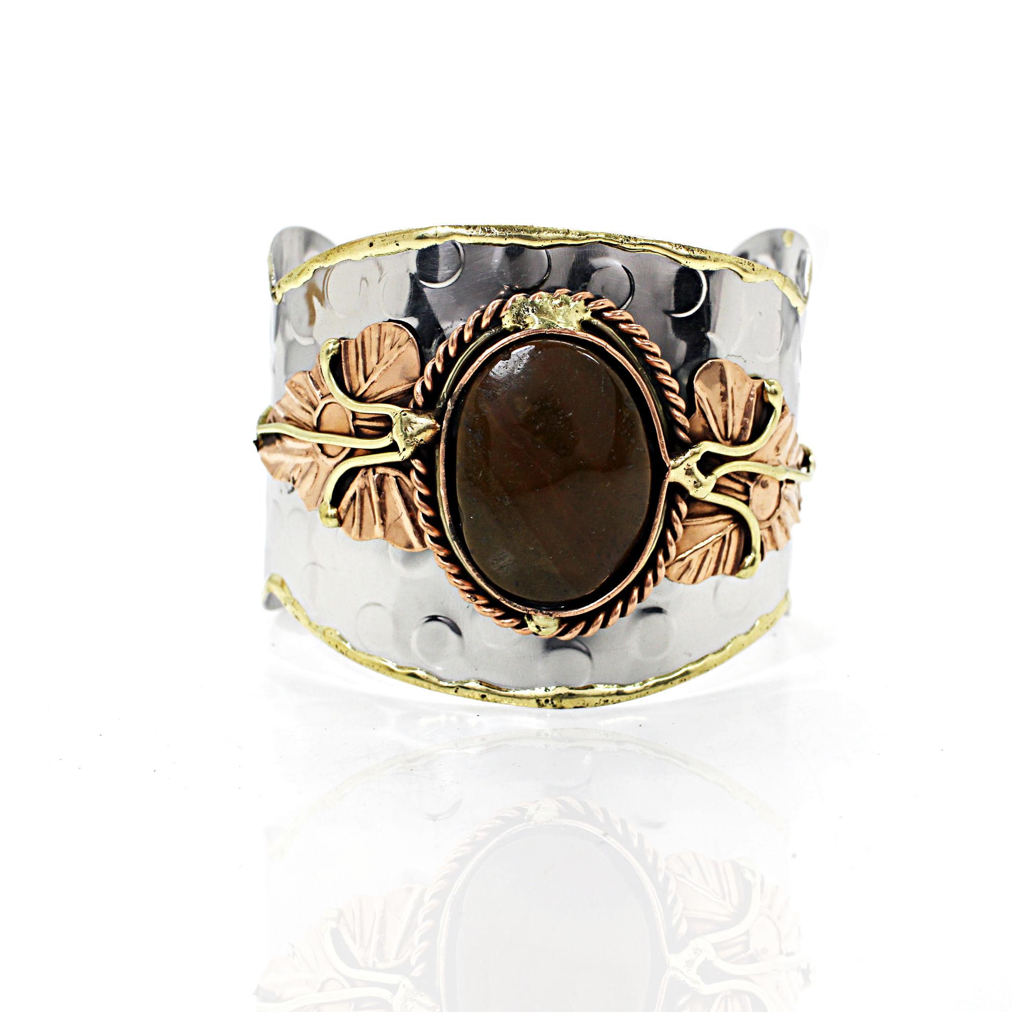 High Quality Natural Chrysocolla Gemstone Bracelet Brass Vermeil Adjustable Bracelet Bohemian Handmade Bracelet Gift For Her