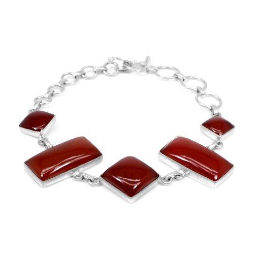 High Quality Natural Red Onyx Bracelet Solid 925 Sterling Silver Bracelet Gift For Her Bracelet