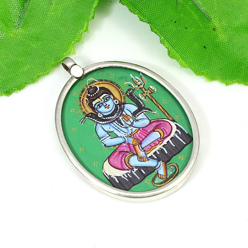 Hindu Deity Lord Shiva Handcrafted Painted Solid Silver Pendant