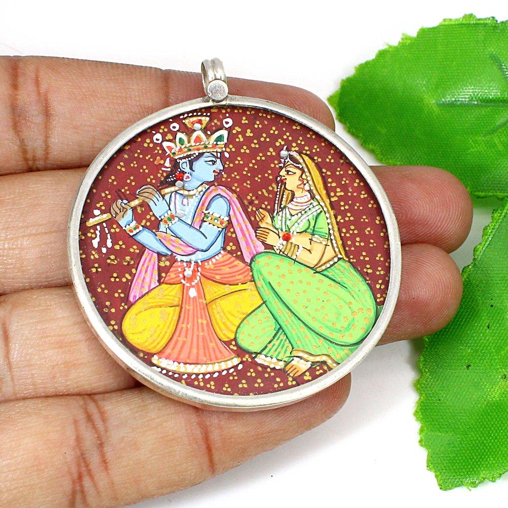 Hindu Deity Lovely Couple Radha Krishna Hand Painted Silver Pendant