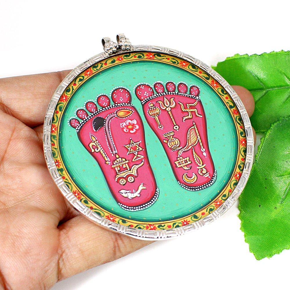 Hindu Deity Money Goddess Shree Lakshmi Feet Charan Silver Pendant