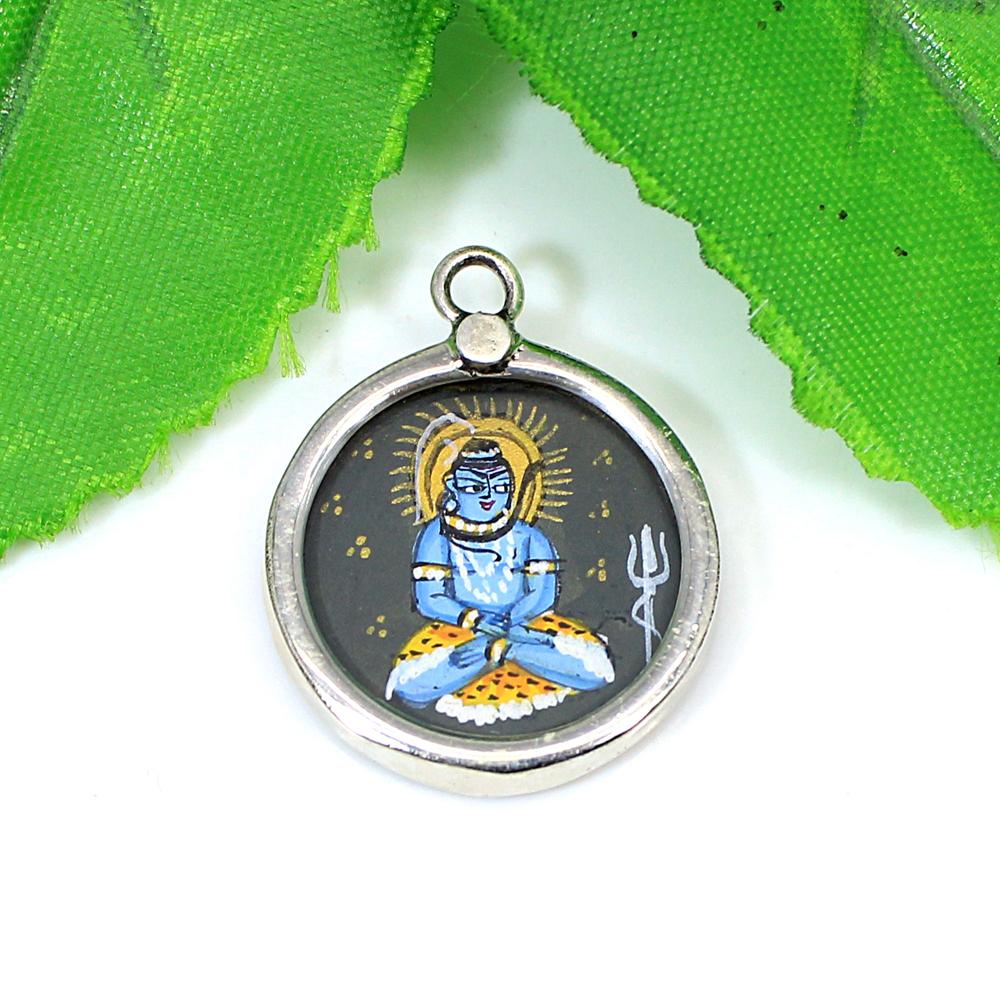 Hindu Lord Shiva Miniature Art Hand Painted Silver Charm Pendant