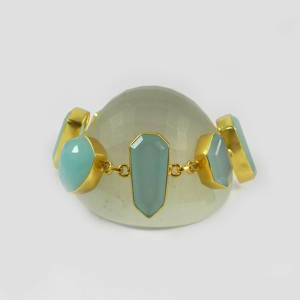 Homer Aqua Chalcedony Gold Plated Designer Link Chain Bracelet