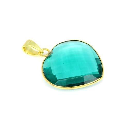 Hot Sale Apatite Hydro Gemstone Pendant Heart Shape Brass Gold Plated Pendant Handmade Bohemian Women Beach Pendant