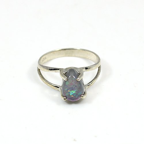 Hot Sale Chinese Opal Gemstone Ring Solid 925 Sterling Silver Rings Tiny Handmade Rings Daily Wear Casual Ring Women Gypsy Ring